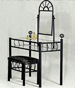 black metal bedroom vanity with glass table bench set