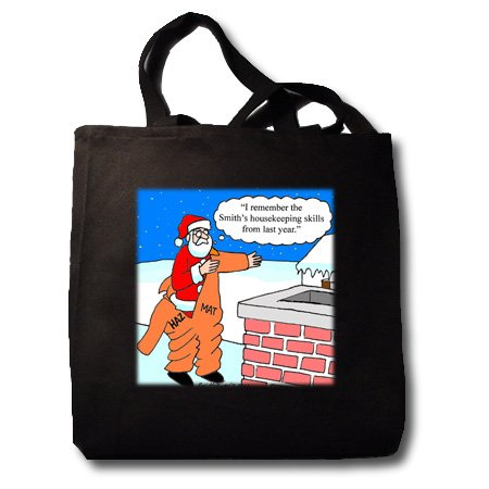 Ron Morgan - Santa and the Hazmat Suit - Black Tote Bag JUMBO 20w X 15h X 5d