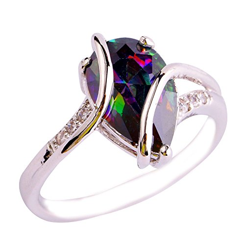 Empsoul Women 925 Sterling Silver Natural Fancy Plated Rainbow Topaz Engagement Love Promise Ring
