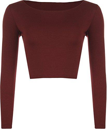 MIXLOT new donna girocollo manica lunga Top T Shirt da donna Top Tutti i colori Wine S/M