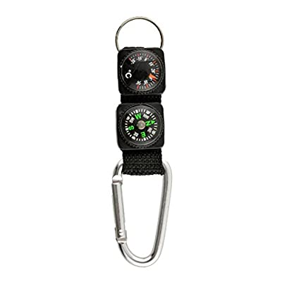 LSD 1x Multifunction Outdoor Survival Tool Camping Hiking Mini Carabiner Keychain Compass Thermometer Key Ring 3 in 1 Black Useful NEW by fds