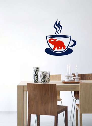 Wall Vinyl Decal Sticker Art Design Cute Cup Of Tea With Elephant Illustration Cafe Kitchen Room Nice Picture Decor Hall Wall Chu542