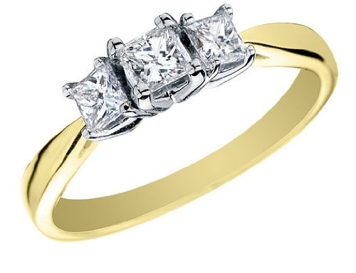 Princess Cut Diamond Engagement Ring and Three Stone Anniversary Ring 1/2 Carat (ctw) in 14K Yellow Gold