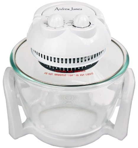 Andrew James 7 Litre Premium Halogen Oven including extender ring (up to 10 litres), baking and steamer trays, lid holder + 128 recipe book + an extra easily spare replaceable bulb + 2 Year Warranty