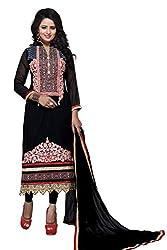 S P Marketing Black Georgette Embroidered Semi Stitched Salwar Suit Dupatta Material 2500