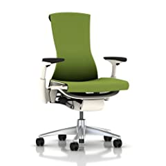 Embody Chair by Herman Miller - Fully Adjustable Arms - White Frame and Titanium Base - Standard Carpet Casters
