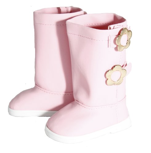 BUYS BY BELLA Pink Boots with Flower Buckle for 18 Inch Dolls Like American Girl