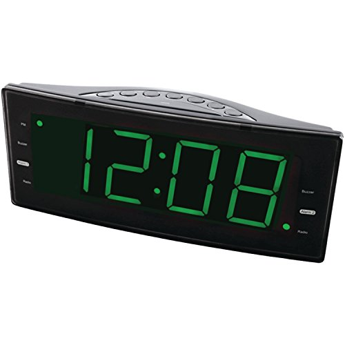 NAXA Electronics NRC-166 Easy-Read Dual Alarm Clock with Jumbo Display and Built-In USB Device Charger (Black) (Dual Alarm Clock Large Display compare prices)