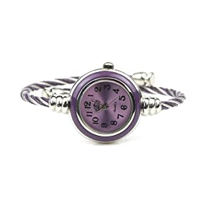 Womens Silver Classic Twisted Band Bracelet Round Wrist Watch Purple