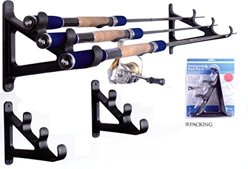 Wealers 3-rod Rolling Rack Fishing Rod Wall Holder Hanger Organizer, Wall Rack Space Saver,