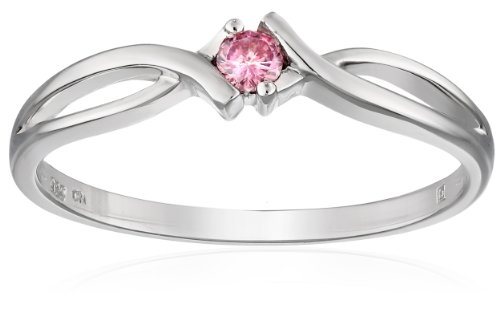 Sterling Silver Pink Diamond Engagement Ring, (0.1 cttw), Size 7