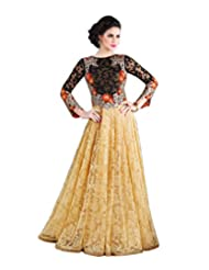 London Beauty Indo-Western Cream Black Gown
