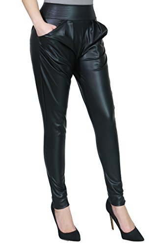 High Waist Faux Leather Trendy Fashion Pants for Women MEDIUM BLACK-P2296D