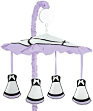 Purple Black and White Princess Musical Baby Crib Mobile by Sweet Jojo Designs
