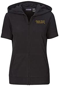 NCAA Ferris State University Ladies Short Sleeve Full Zip Polar Fleece Hoodie, Black by Oxford