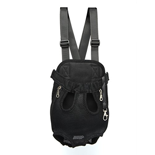 Pet Dog Cat Puppy Carrier Backpack Front Tote Nylon Bag Travel Hiking Riding (Black, M)