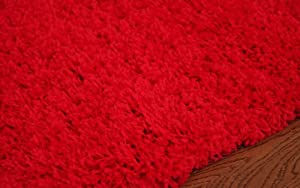 Luxurious Soft Dense Pile Red Shaggy Rug 6 Sizes Available by The Rug House