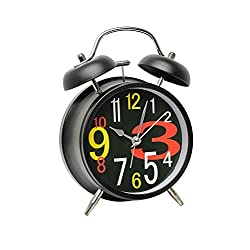 A2S Vintage Style Alarm Clock - Twin Bell, Analog & Battery Operated - Great for Heavy Sleepers and Travel (Black - Colorful Numbers, Round Shape)