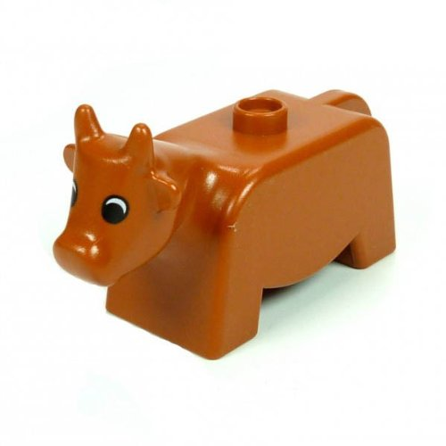 1 Kuh Bulle braun Tier Bauernhof Zoo Zirkus Lego