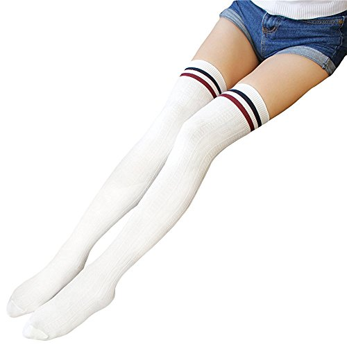 [TooPhoto Womens Cotton College Style Stripes Over Knee Thigh High Stockings E White] (Mardi Gras Outfit Ideas)