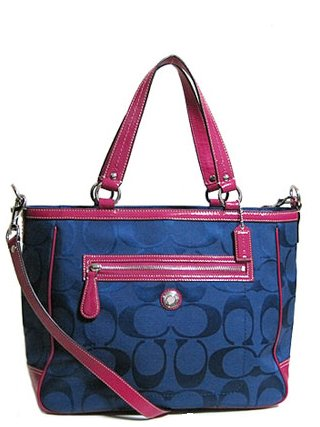 Coach Navy Blue W Pink Signature Laura North South Diaper Laptop Tote ...