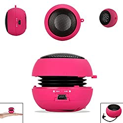 PINK 3.5mm Audio Jack Portable Plug and Play Hamburger Rechargeable Mini Wired Speaker For NOKIA X7 Mobile Cellular Cell Phone