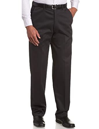 Haggar Men's Work To Weekend  Hidden Expandable Waist No Iron Twill Plain Front Pant, Navy, 34x32