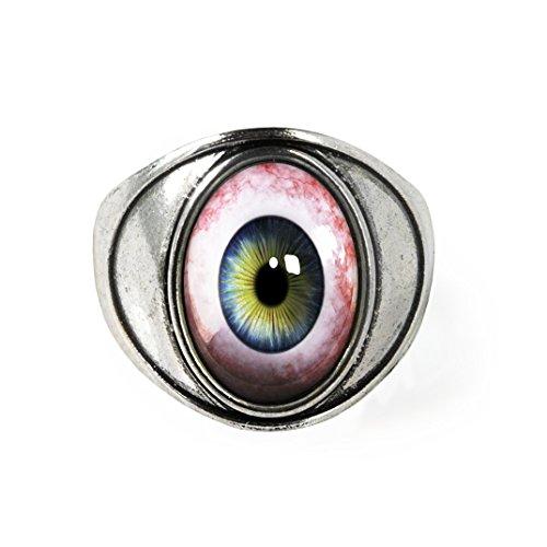 Antique Silver Human Eyeball Taxidermy Oddity Ring Size 7