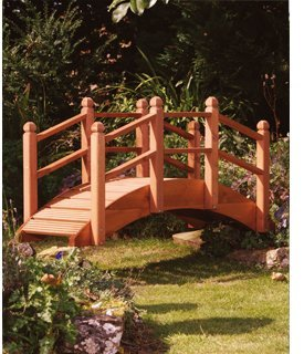 Extra Large 6ft Wooden Garden Bridge Ornament Decorative Feature Teak Stained For Ponds Streams and Borders