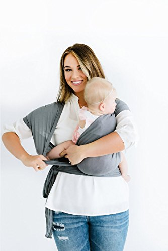 Baby-Wrap-Sling-Carrier-Best-For-Newborns-Infants-Toddlers-And-Baby-Shower-Gifts-All-Natural-Breathable-Soft-Light-Weight-Hands-free-With-Nursing-Cover-For-Newborns-Up-To-35lbs-Grey