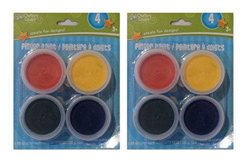 Back to School Crafter's Square Children's Finger Paints - 4 Brilliant Colors Per Pack - 2 Pack (8 Tubs of Paint) - 1
