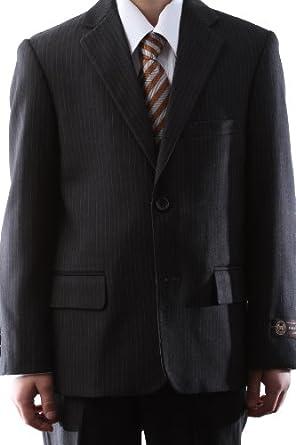 Caravelli Boy Dress Suit Gray Pinstripe Two Button Size Husky 10