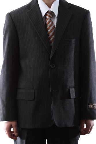 Caravelli Boy Dress Suit Gray Pinstripe Two Button Size Regular 8 – 20, Husky 10 – 20