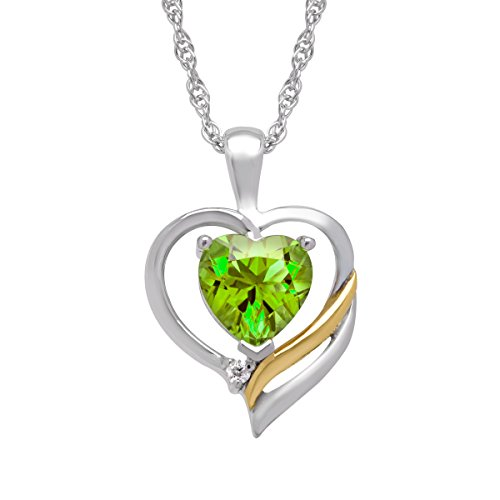 august birthstone pendants - Peridot Heart w/Diamond in Sterling Silver and 14K Gold