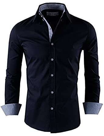 Tom's Ware Mens Premium Stylish Slim Fit Long Sleeve with Checkered buttons Shirts TWNMS314S-BLACK-M (US S)