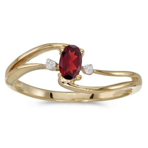 0.24 Carat Ctw 14K Gold Oval Red Garnet & Diamond Bypass Split Shank Fashion Promise Ring - Yellow-Gold, Size 4