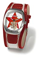 Lambretta Lustro Red Star, Curved Rectangular Stainless Steel Unisex Red Star Design Dial and Red & White Leather Cuff Strap Watch LA2030/RED2