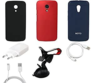 NIROSHA Cover Case Charger USB Cable Mobile Holder for Motorola G2 2nd Gen - Combo