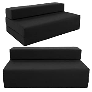 Gilda ® Double Sofa bed futon - Black Indoor/Outdoor Stain Resistant fabric by Gilda Ltd