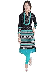 Black Long Kurtis For Women Printed Abstract 3/4 Sleeves BCRMF-5034-V