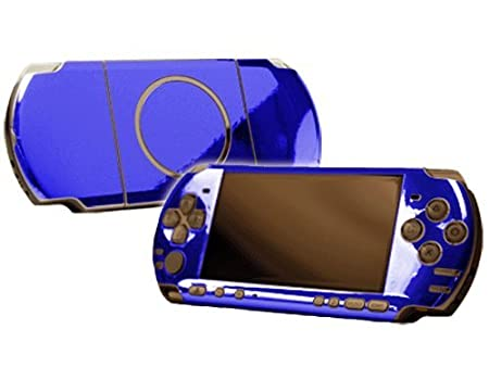 PlayStation Portable 3000 (PSP-3000) Skin - NEW - BLUE CHROME MIRROR system skins faceplate decal mod