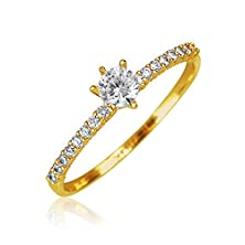 buy Bling Jewelry 14K Yellow Gold Cubic Zirconia Thin Solitaire Engagement Ring