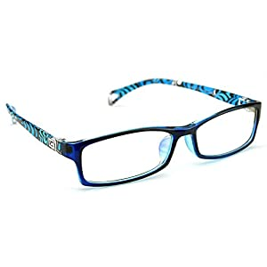 PenSee Fashion Horned Rim Rectangular Eye Glasses Frames Clear Lens (Blue)