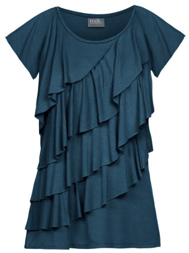 Milk Nursingwear Diagonal Ruffle Nursing Top-S-Deep Teal