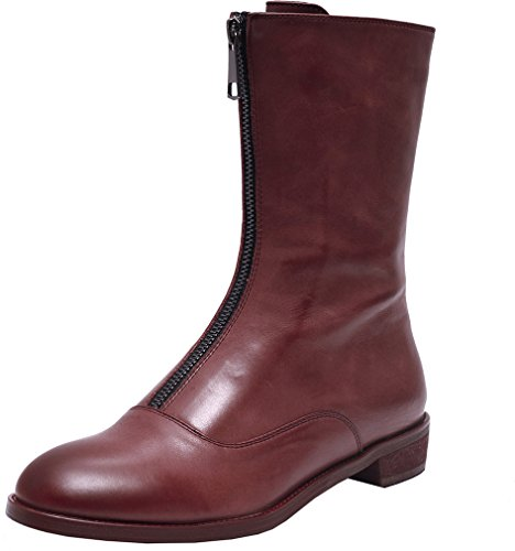 ELEHOT Donna Eleadapt tacco a blocco 3CM Leather Stivali, rosso, 36.5