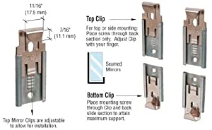 CRL Nickel Plated Adjustable Mirror Clip Set for 1/2 in (12 mm) Straight Edge Glass - Package