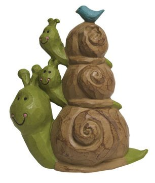 Three Cheerful Snails Stack with Bluebird, Miniature Collectible Figure, 2.5-inch
