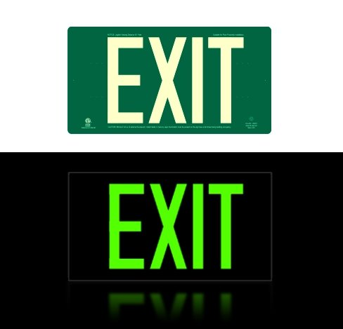 Photoluminescent Exit Sign Green Code Approved Ul 924ibc 2012