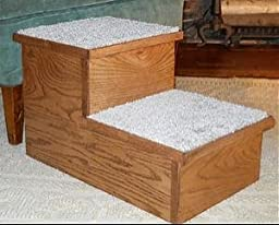 Solid Oak Dog Stairs with Carpet (Acres, 2 Steps)