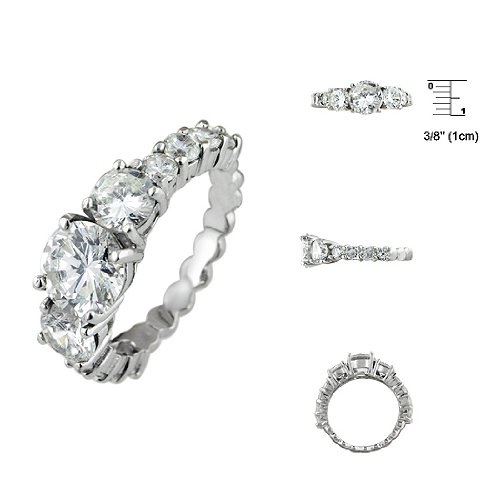 Sterling Silver Rhodium Finish Three Stone Pave Wedding Ring Size: 6